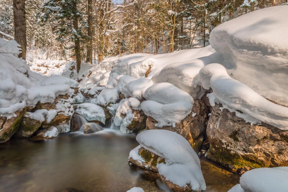 Lexgraben im Winter - Bach Bildeigenschaft Gewässer Highlight Jahreszeit Jahreszeiten Kontrastreich Lexgraben Natur Schnee Winter grau
