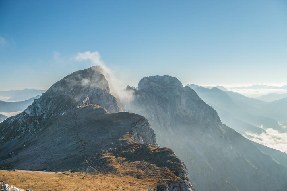 der Nebel löst sich am Sparafeld - Admonter Kaibling Berg Gipfel Hochland Kaibling Kalbling Nationalpark Gesäuse Nationalparks Natur Sparafeld