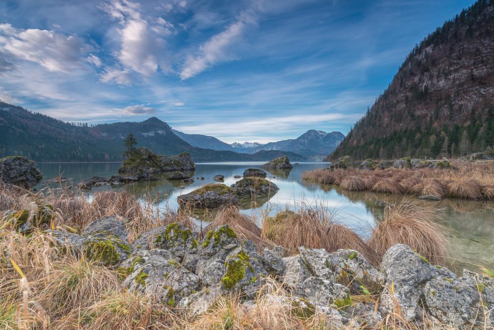 Am Altausseer See - Altaussee Altausseer See Ausseerland Dachstein Europa Gewässer Herbst Highlight Himmel Jahreszeit Jahreszeiten Natur Salzkammergut See Steiermark Wasser grau Österreich