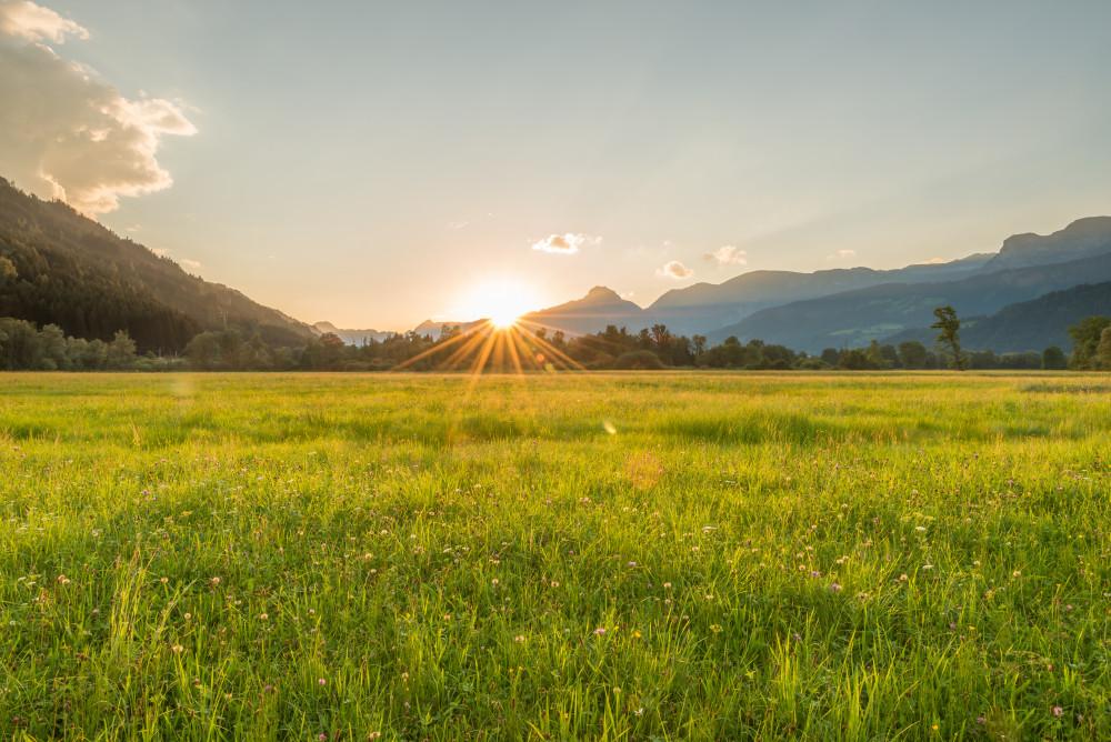 Sonnenuntergang im Ennstal - Berg Ennstal Europa Feld Gamper Lacke Gewässer Gipfel Highlight Hochtausing Lacke Landwirtschaft Liezen Natur Sommer Sonne Sonnenuntergang Steiermark Tausing Wiese Österreich