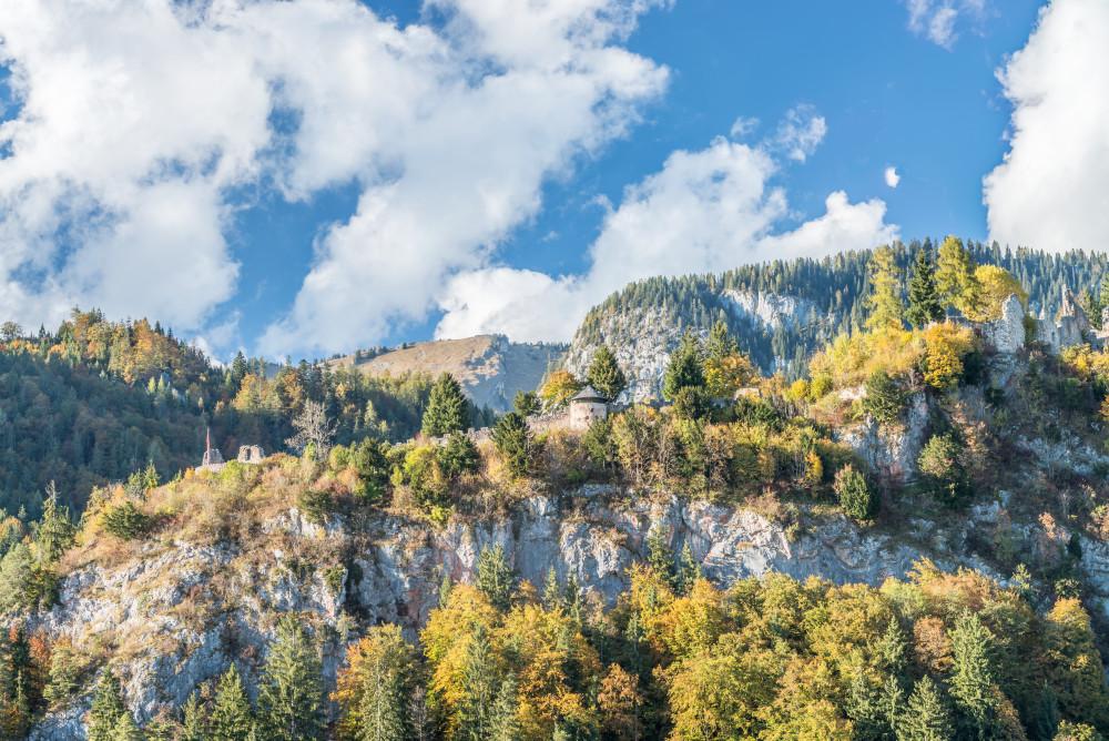Ruine Wolkenstein (Wörschach) - Baum Bauwerke Bildeigenschaft Bäume Ennstal Europa Himmel Holz Kontrastreich Natur Pflanze Pflanzen Ruine Wolkenstein Ruinen Steiermark Wald Wolken Wörschach Österreich