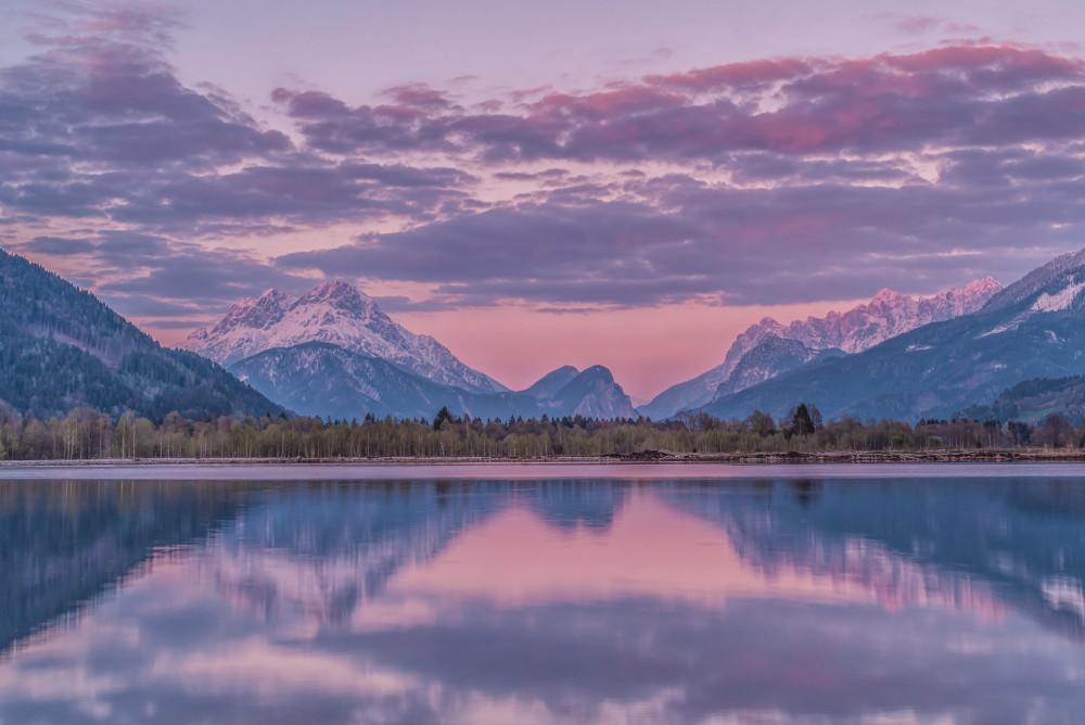 der Panoramasee in Frauenberg - Aigen bei Admont Berg Ennstal Europa Frühling Gewässer Himmel Jahreszeit Jahreszeiten Natur See Steiermark Wasser Wolken grau Österreich