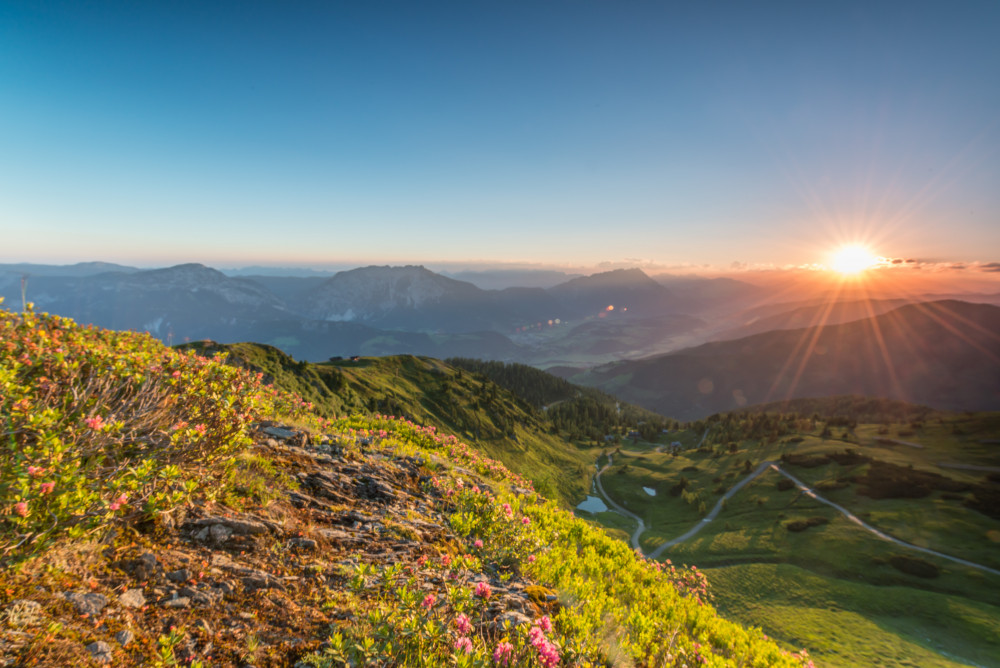 Sonnenaufgang am Pleschnitzzinken - Berg Ennstal Europa Frühling Gröbming Gröbmingerland Jahreszeit Jahreszeiten Natur Sommer Sonnenaufgang Steiermark Österreich