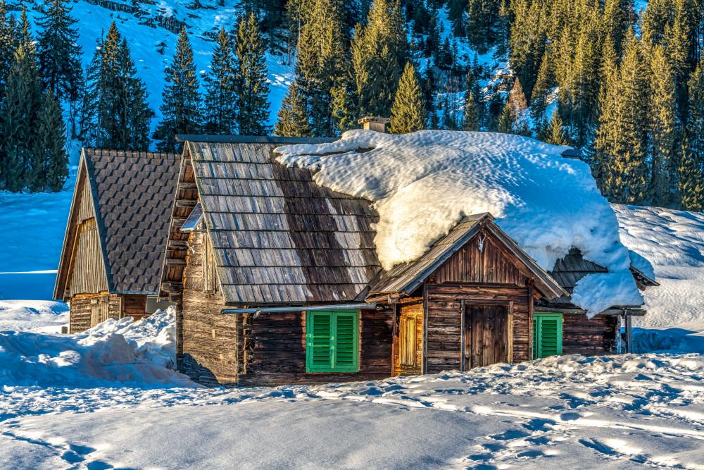 Hinteregger Alm - Alm Almen Architektur Ennstal Europa Gebäude Hinteregg Hinteregger Alm Hütte Jahreszeit Jahreszeiten Liezen Natur Schnee Steiermark Winter grau Österreich