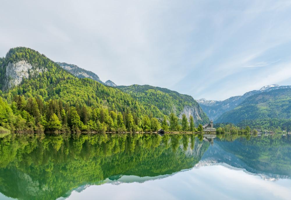 - Ausseerland Europa Gewässer Grundlsee Hochland Natur Salzkammergut See Steiermark Wasser grau Österreich