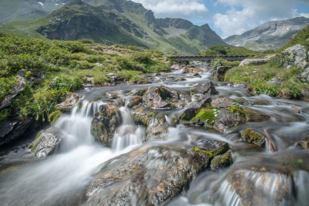 - Berg Ennstal Europa Fluss Gewässer Giglach See Natur Schladminger Tauern See Sommer Steiermark Wasser Wasserfall grau Österreich