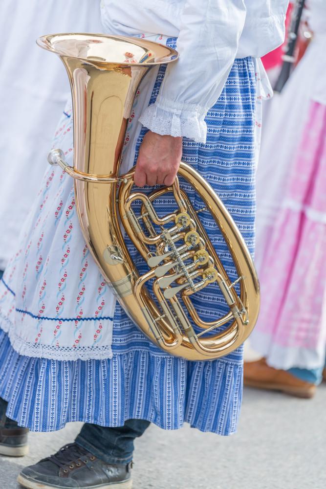 - Bildinhalt Brauchtum Bürgertrommelweiber Fasching Hell Hochformat Musikinstrument Person Posaune Trommelweiber
