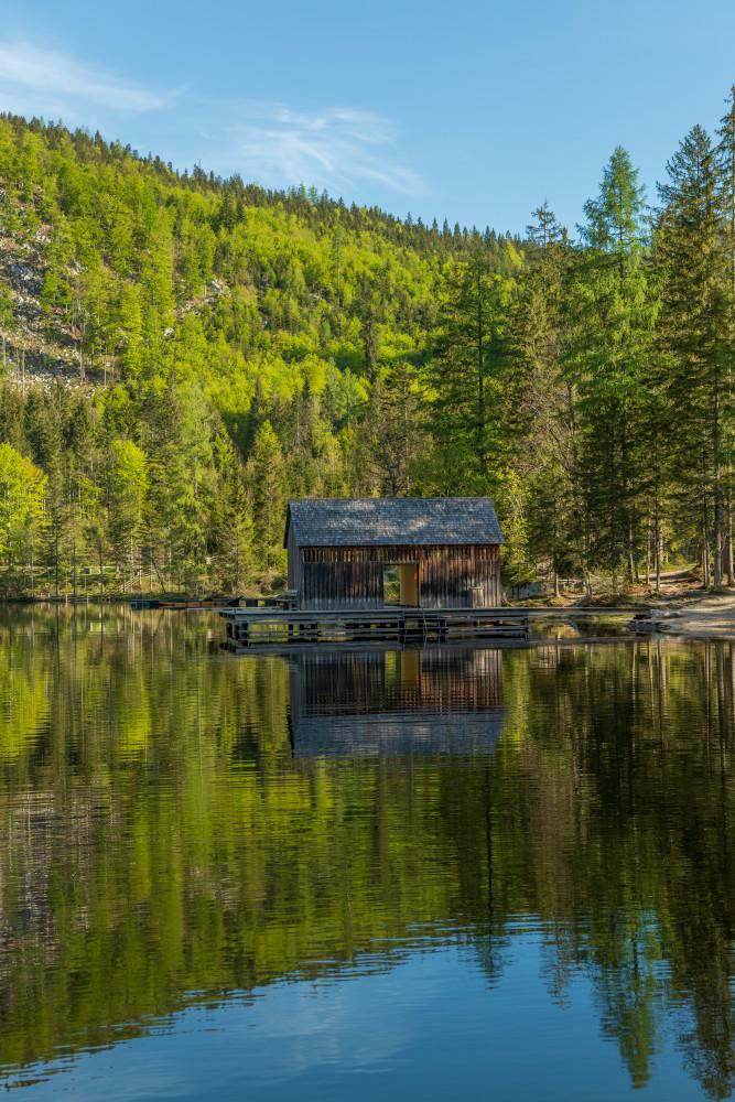 Ein herbstlicher Morgen am Ödensee - Ausseerland Baum Europa Gewässer Hochformat Holz Natur Pflanze Salzkammergut See Steiermark Wald Wasser Ödensee Österreich