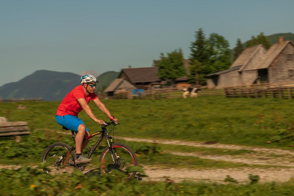 - Alm Almen Bildinhalt Fahrzeug Freizeit Hinteregg Hinteregger Alm Hintereggeralm Mountain Bike Mountenbiker Radfahrer Sport Velo erkennbare Person