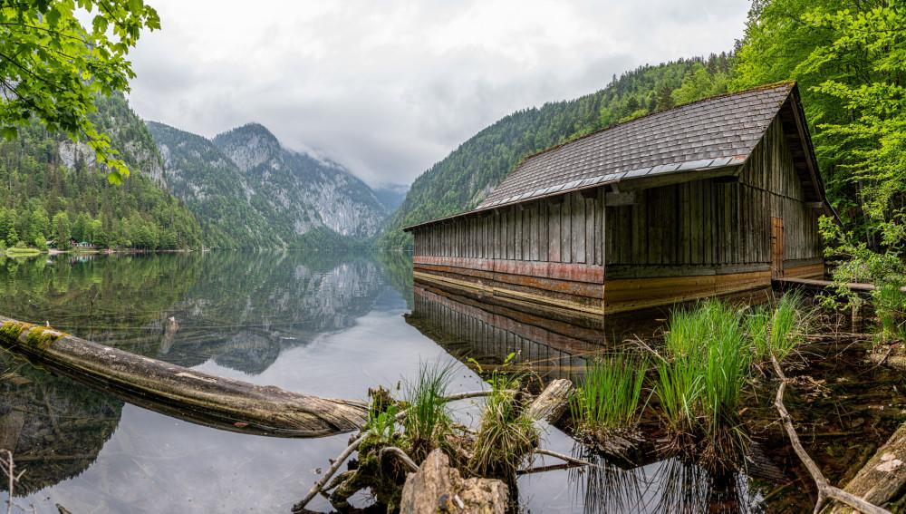 Bootshütte am Toplitzsee - Architektur Ausseerland Europa Gebäude Hütte Natur Pflanze Salzkammergut Steiermark Toplitzsee Österreich