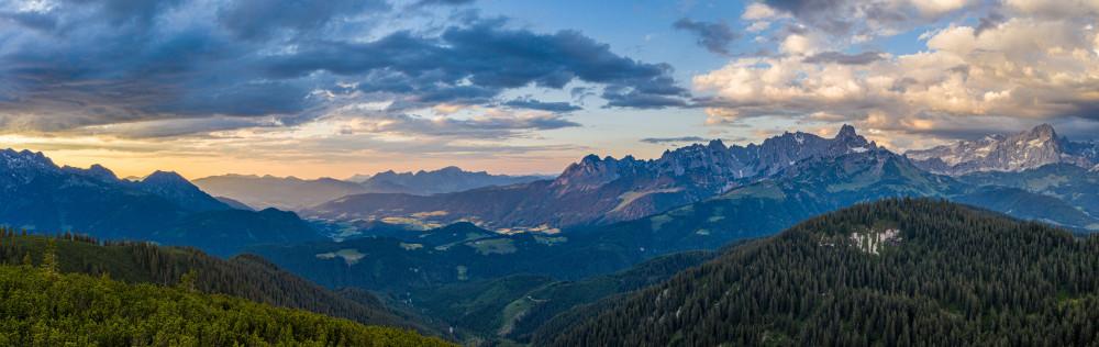 Panorama vom Gerzkopf Gosaukamm bis Dachsteingletscher - Berg Bischofsmütze Filzmoos Gerzkopf Natur Pongau Salzburg